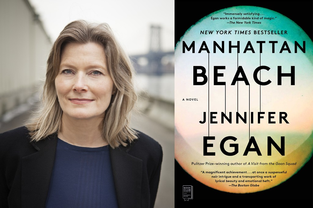 """Collage with two images. (Left) Jennifer Egan in dark blouse and jacket. (Right) Cover of her book """"Manhattan Beach"""""""