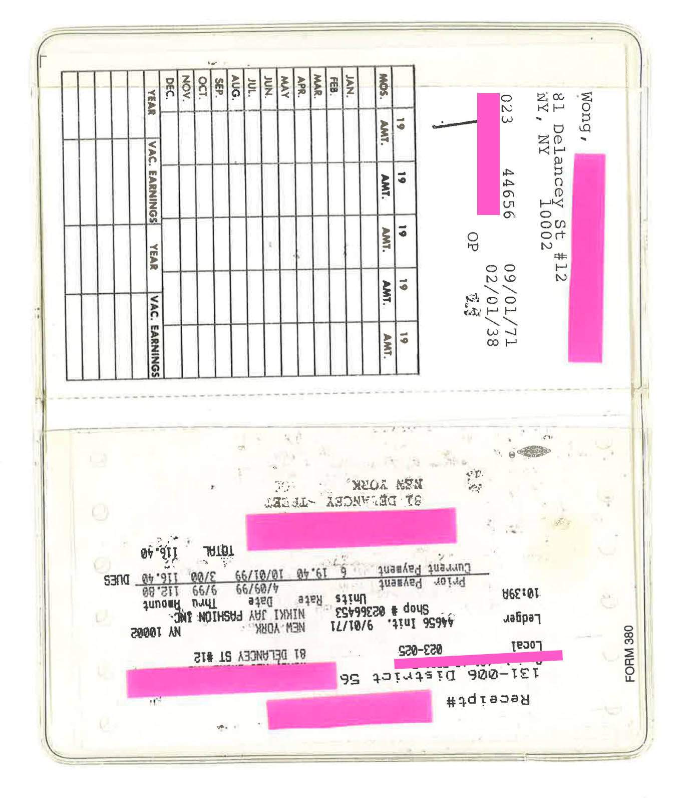 Old union card showing some of Mrs. Wong's personal information