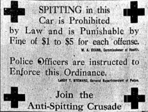 Newspaper advert for the 1896 Anti-Expectoration Campaign in NYC