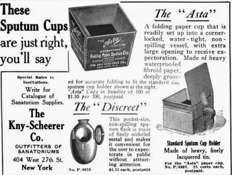 Advert for Kny-Scheerer Co. Brand Sputum Cups published in Outdoor Life magazine, 1915