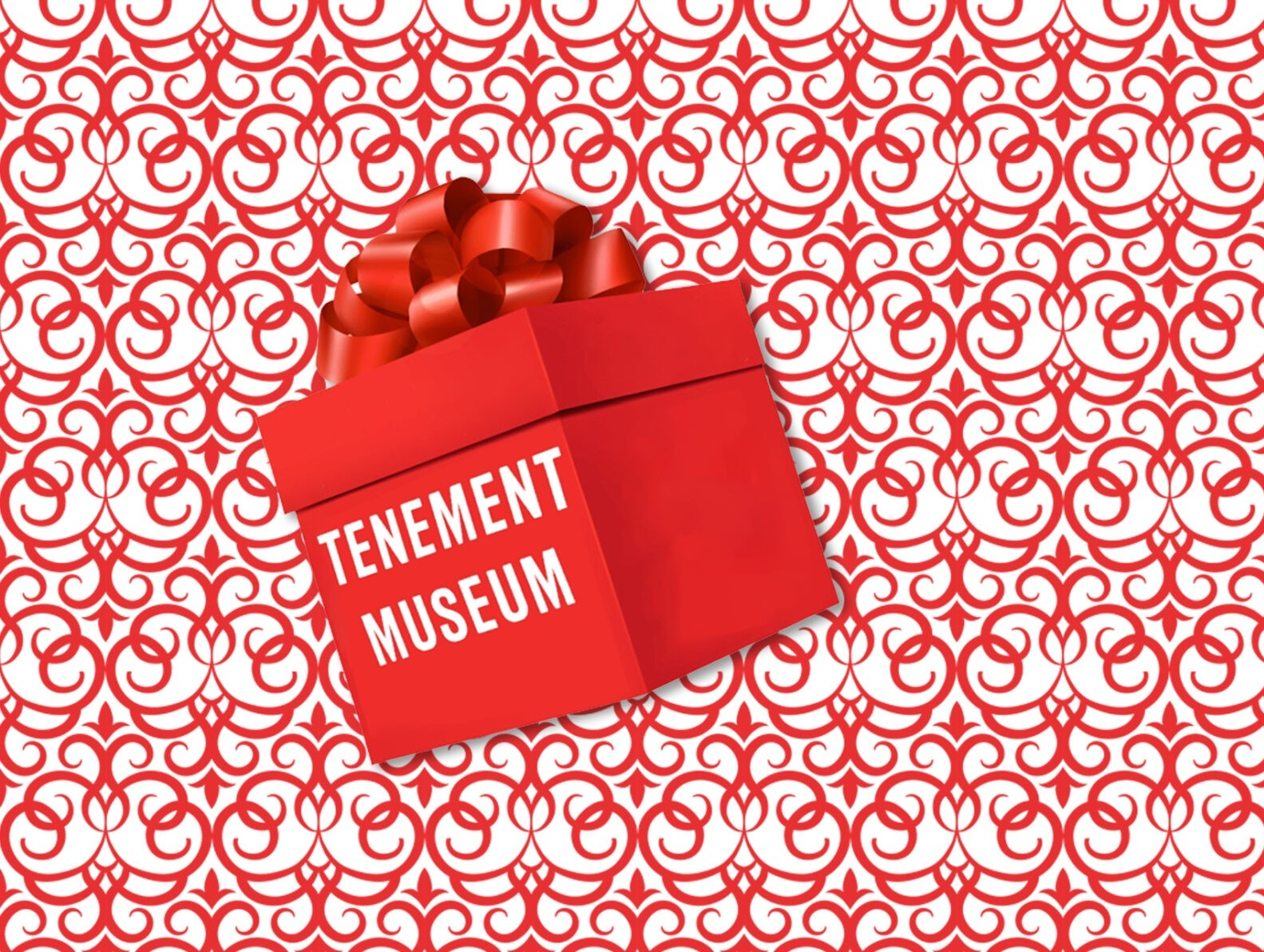 "A bright red gift box topped with a ribbon. Text on the box reads ""Tenement Museum"""