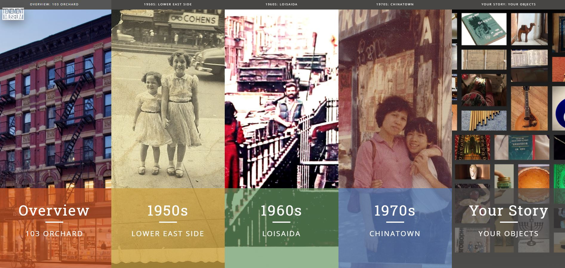 Graphic for 103 Orchard Street website with a sectioned collage of pictures from 1950s, 60s, 70s