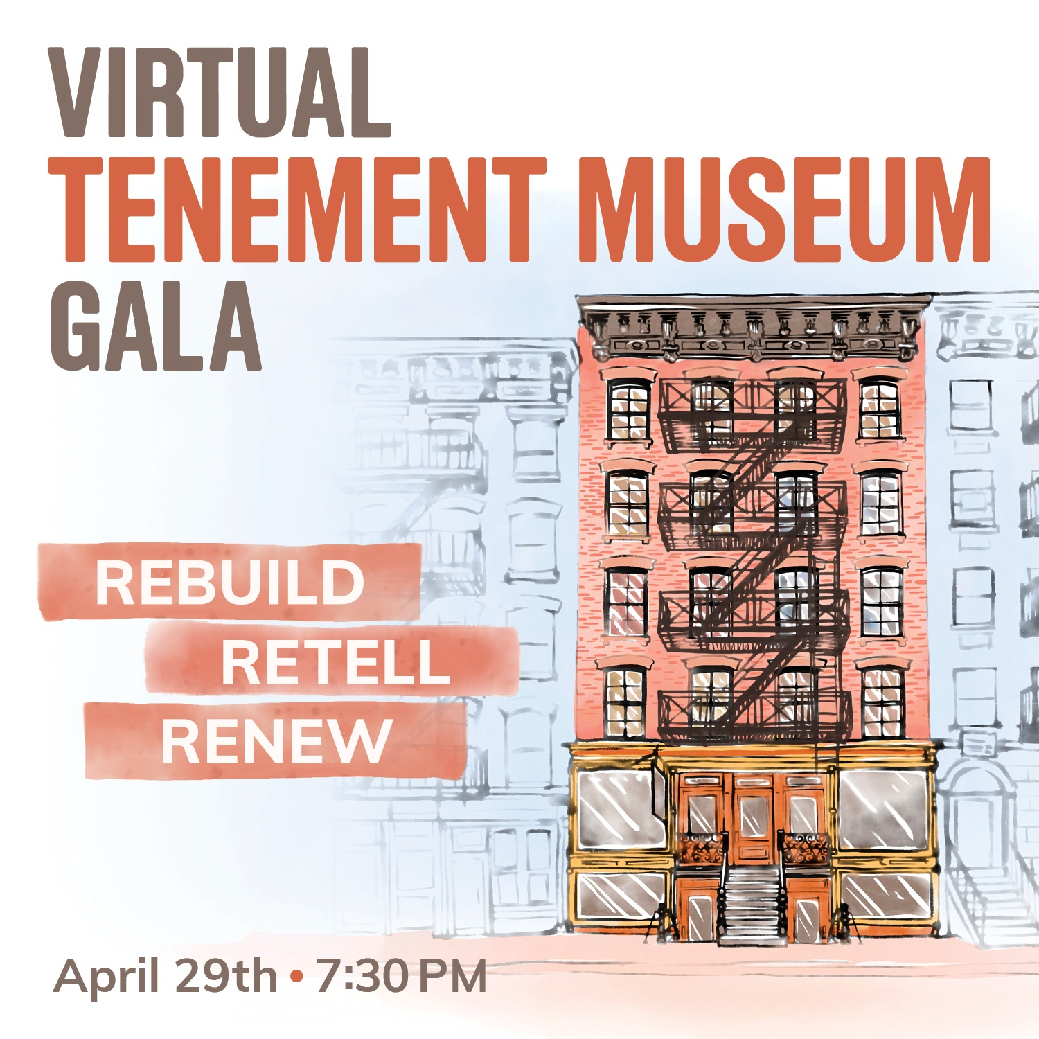 "Ad for ""Virtual Tenement Museum Gala"" on April 29 at 7:30 PM"