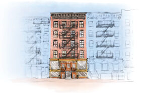 Digital illustration of 97 Orchard Street in full color between two other buildings set in all blue