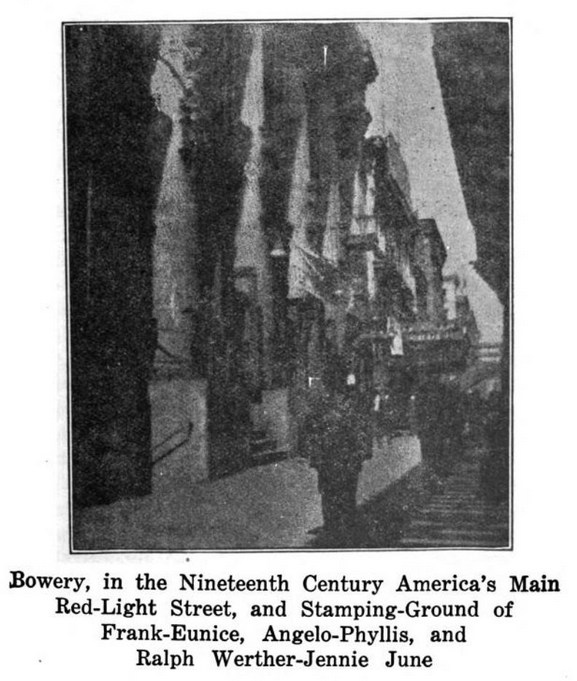 """A historic shadowy streetscape from Lind's memoire, captioned """"Bowery, in the Nineteenth Century America's Main Red-Light Street, and Stamping-Ground of Frank-Eunice, Angelo-Phyllis, and Ralph Werther-Jennie June."""""""