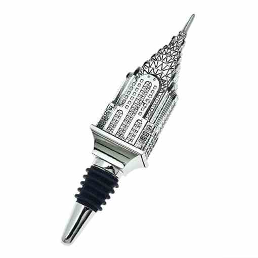silver bottle stopper with a Chrysler Building topper