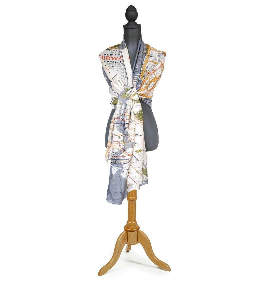 light fashion scarf patterned with an old, retro map of New York City