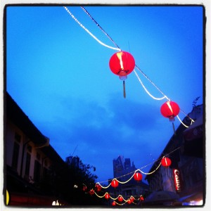 Evening sky over Singapore's Chinatown