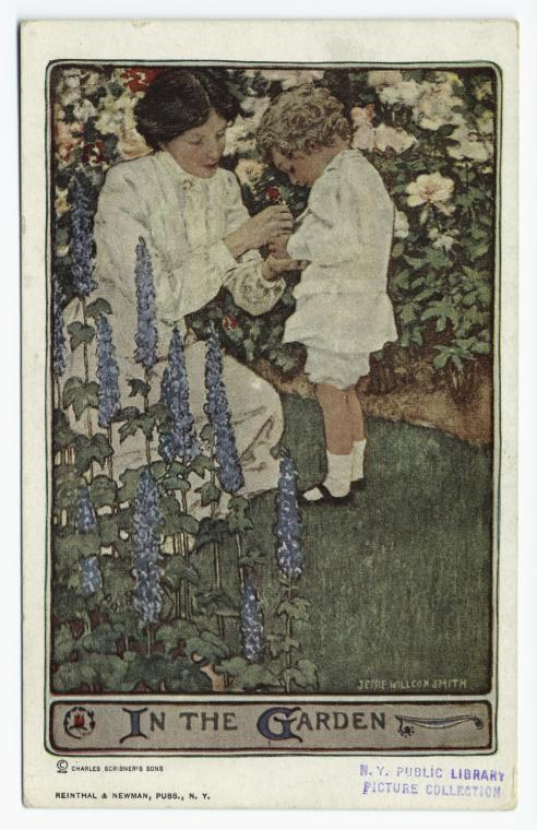 A bucolic imagining of child-rearing from a 1909 post card by Jessie Wilcox Smith. Photo credit Scribner and Sons. Photo courtesy of the NYPL