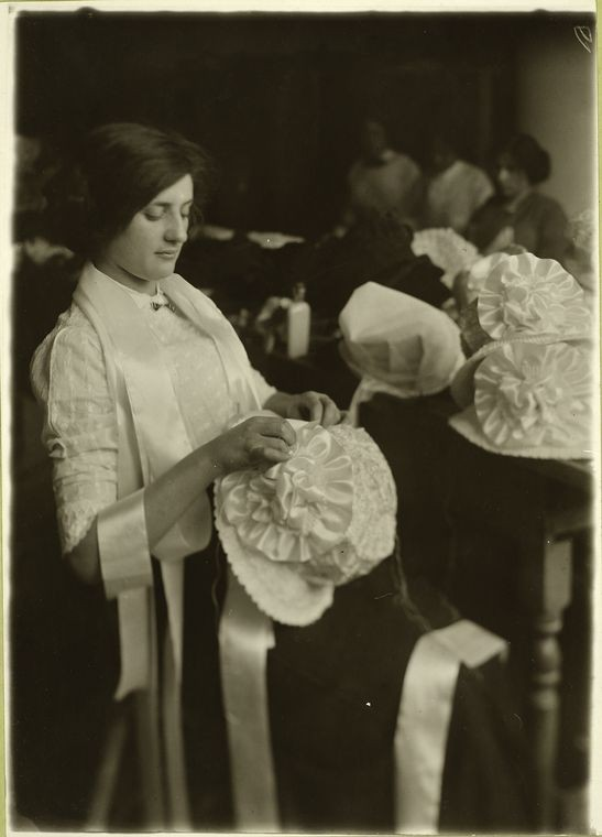 For the factory workers wearing, the styles they worked on in the factories was important order to feel independent from the repetitive labor. Photo courtesy of the New York Public Library.