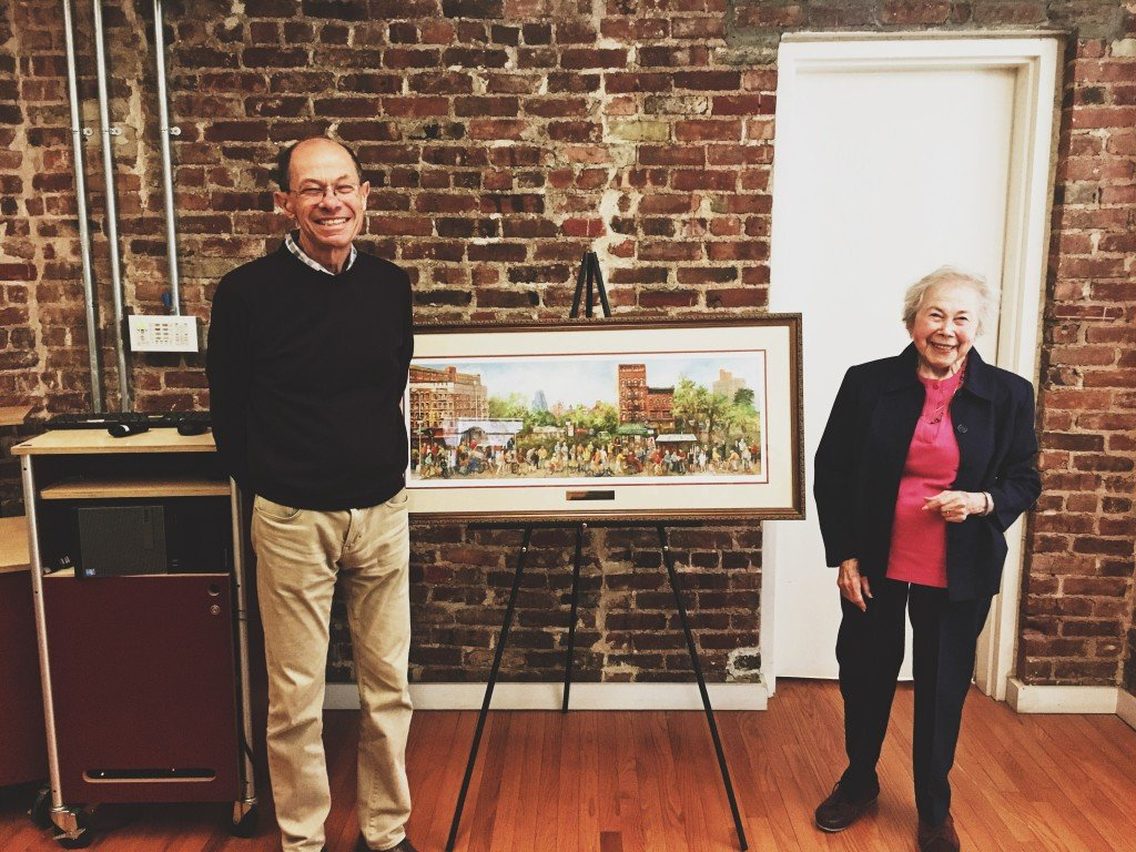 Tenement Museum President Dr. Morris J. Vogel and artist Hedy P posing with Grand Street NYC.